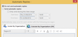 Automatic reply dialog box