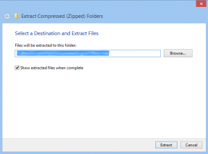 Select folder for extracted files
